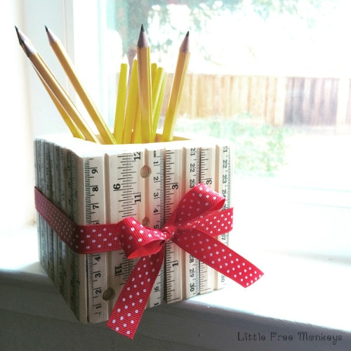ruler pencil holder teacher appreciation gift - Little Free Monkeys