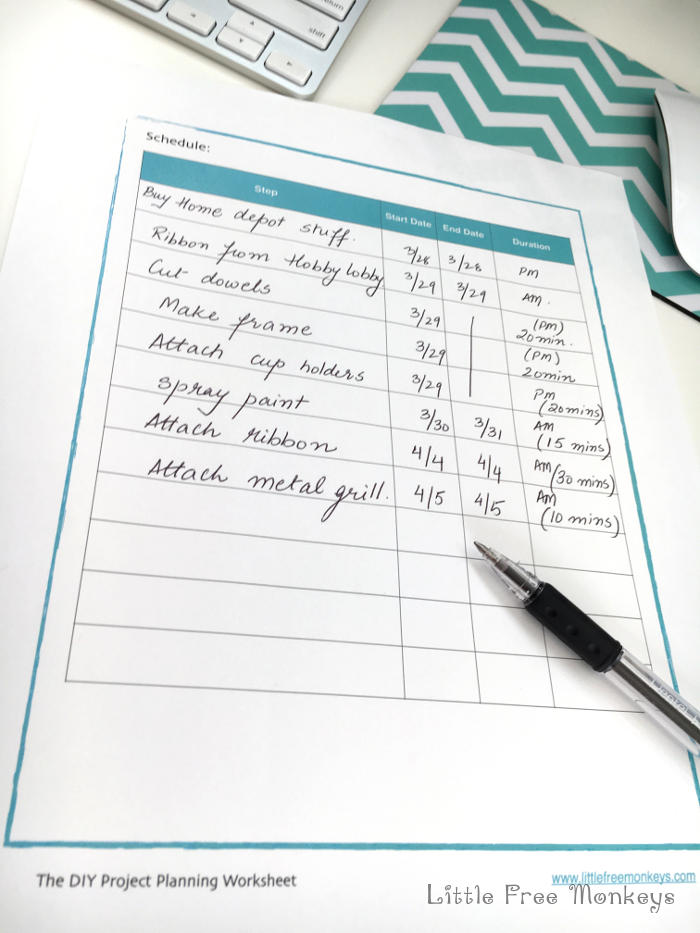 15 minutes to a Successful DIY Project Anikas DIY Life – Project Planning Worksheet