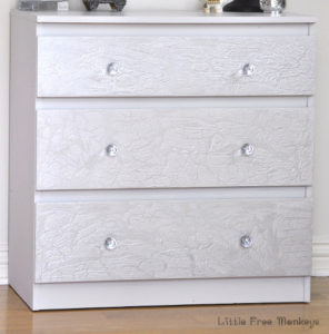 Crackled paint dresser makeover - Ikea Malm Hack - Little Free Monkeys
