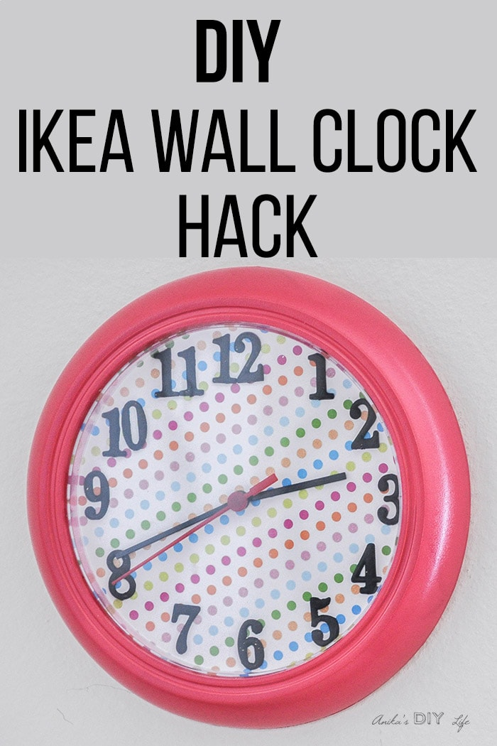 Pink Ikea Rusch Wall Clock With Colorful Paper And Text Overlay