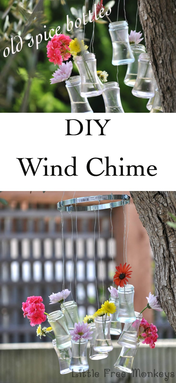 DIY wind chime from upcycled bottles - Little Free Monkeys