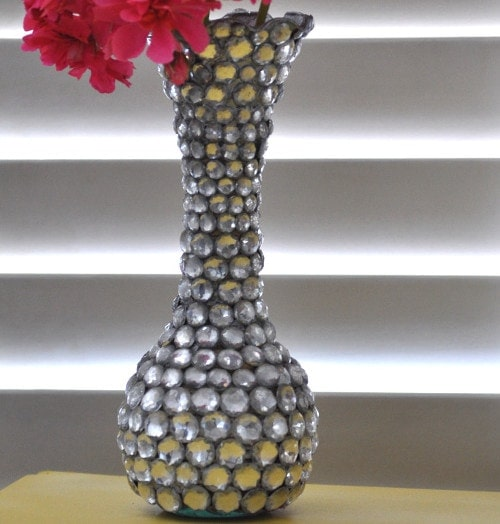 DIY Jeweled vase - Dollar Store craft - Little Free Monkeys