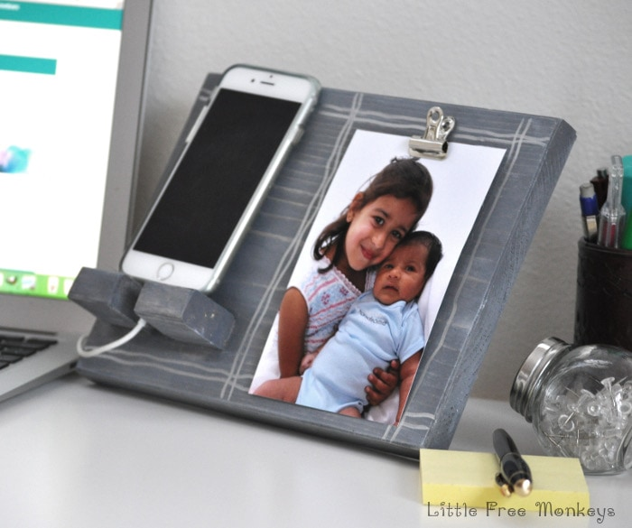 DIY Phone holder and photo display |Desk display | Father's Day gift - Little Free Monkeys