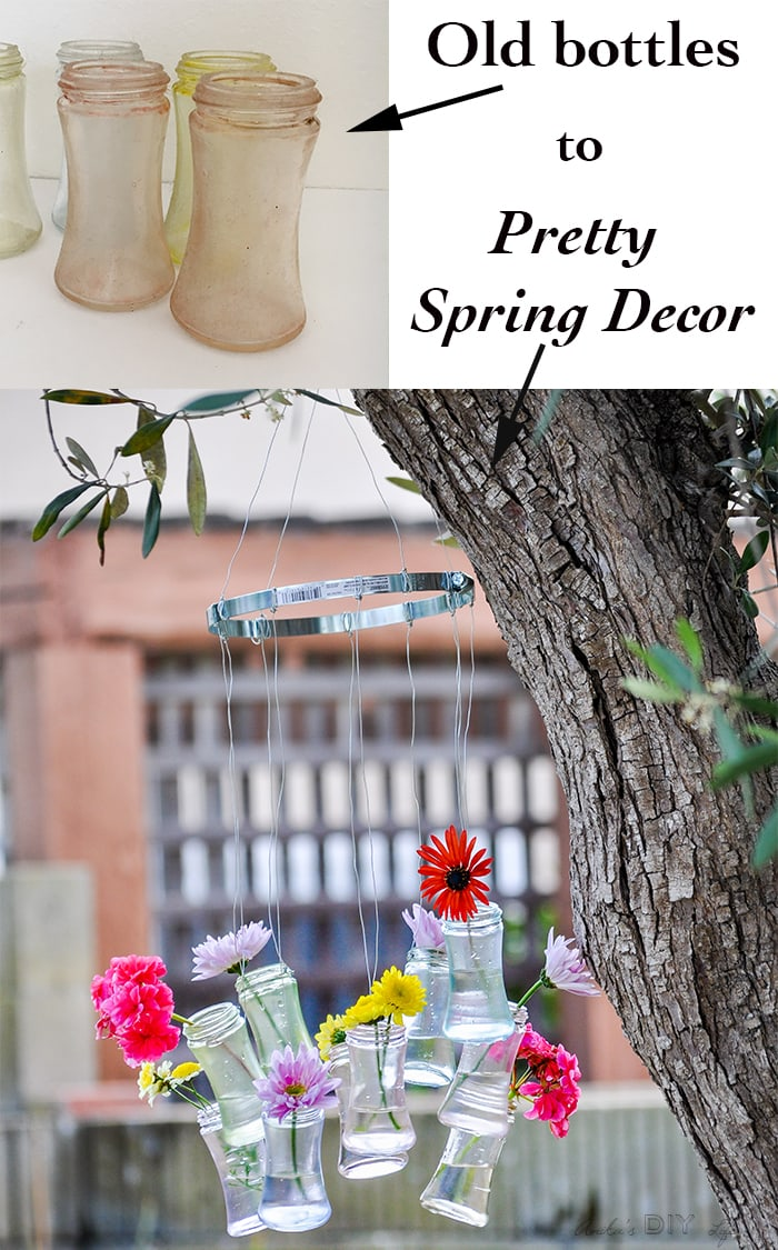 DIY Recycled glass bottle decor- perfect outdoor summer and spring decor