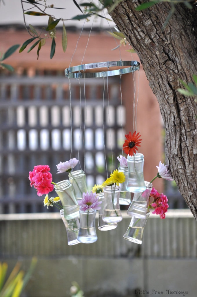 DIY wind chimes and decor from upcycled bottles - Little Free monkeys