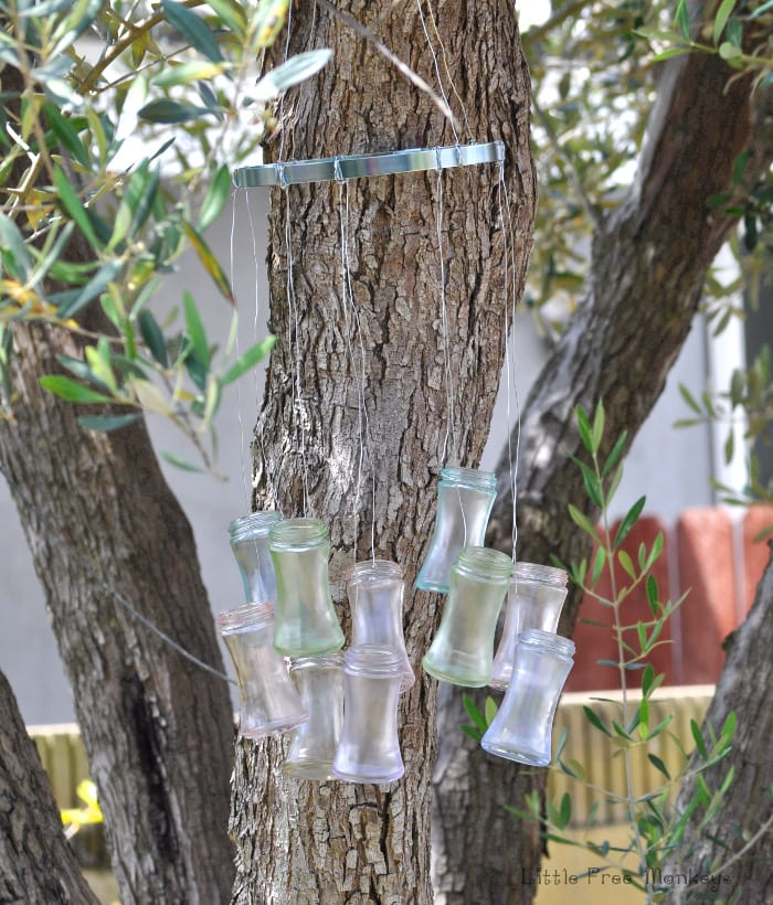 DIY wind chime with upcycle bottles