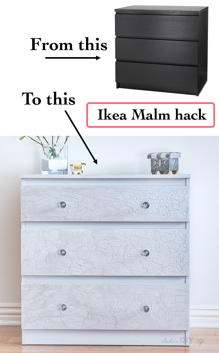 Ikea Malm dresser hack with a unique cracked paint effect. This easy technique transforms a drab Ikea Malm dresser into super glam and chic!