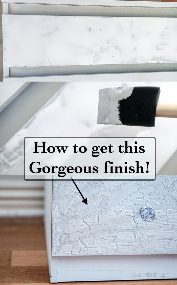 Easy way to get a cracked paint finish. This Ikea Malm dresser hack is amazing!