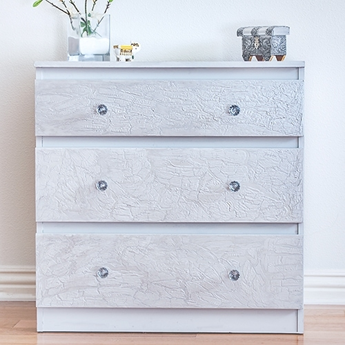 DIY Crackle Paint Using Glue and an Ikea Malm Makeover