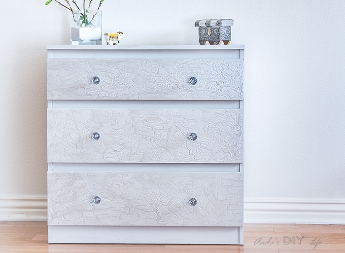 Silver and grey Ikea Malm Dresser with DIY crackle paint using wood glue