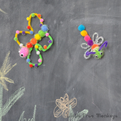 Fun pom pom magnets craft for kids - Little Free Monkeys