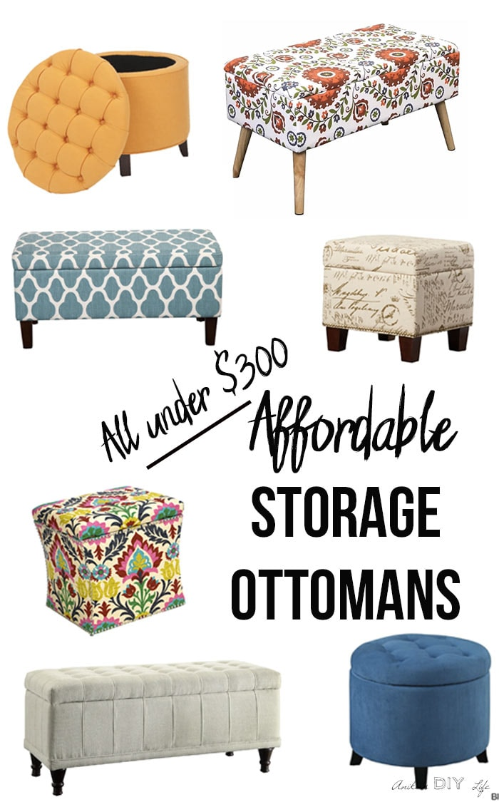 Collection of affordable storage ottomans with text overlay