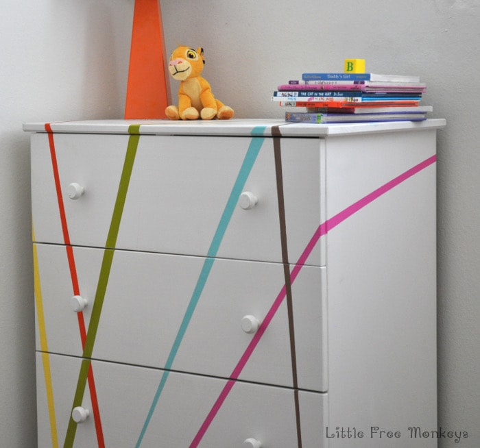 A fun, whimsical and colorful Ikea Tarva dresser makeover. Perfect for a gender neutral Kids room or a baby's nursery