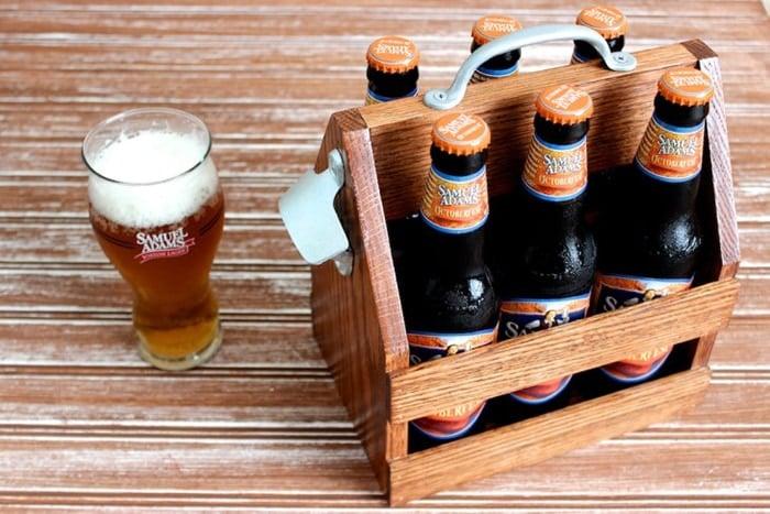 DIY wooden beer tote with beer bottles