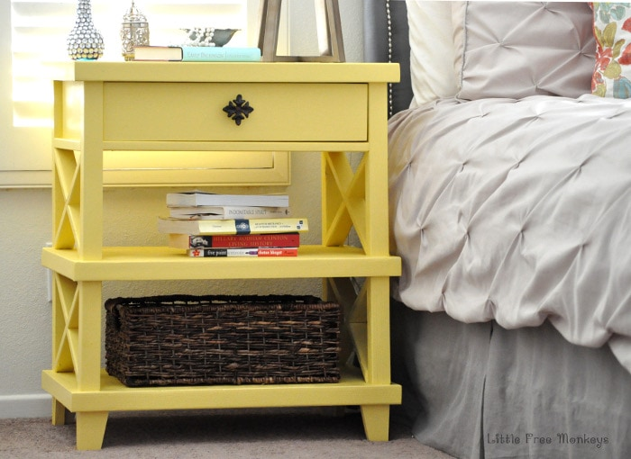 Build this Pottery Barn inspired DIY Clara Lattice bedside table for only $55! Step by step build pictures and free Plans!