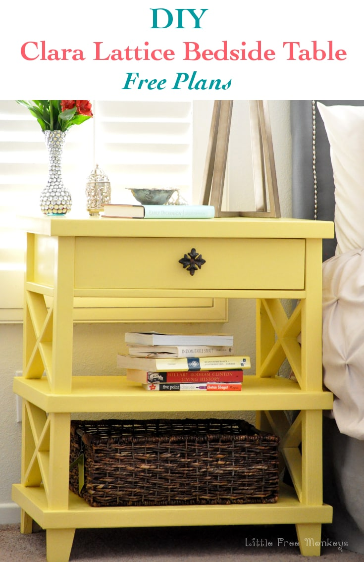 See how I build this Pottery Barn inspired DIY Clara Lattice bedside table with the Free Plans.