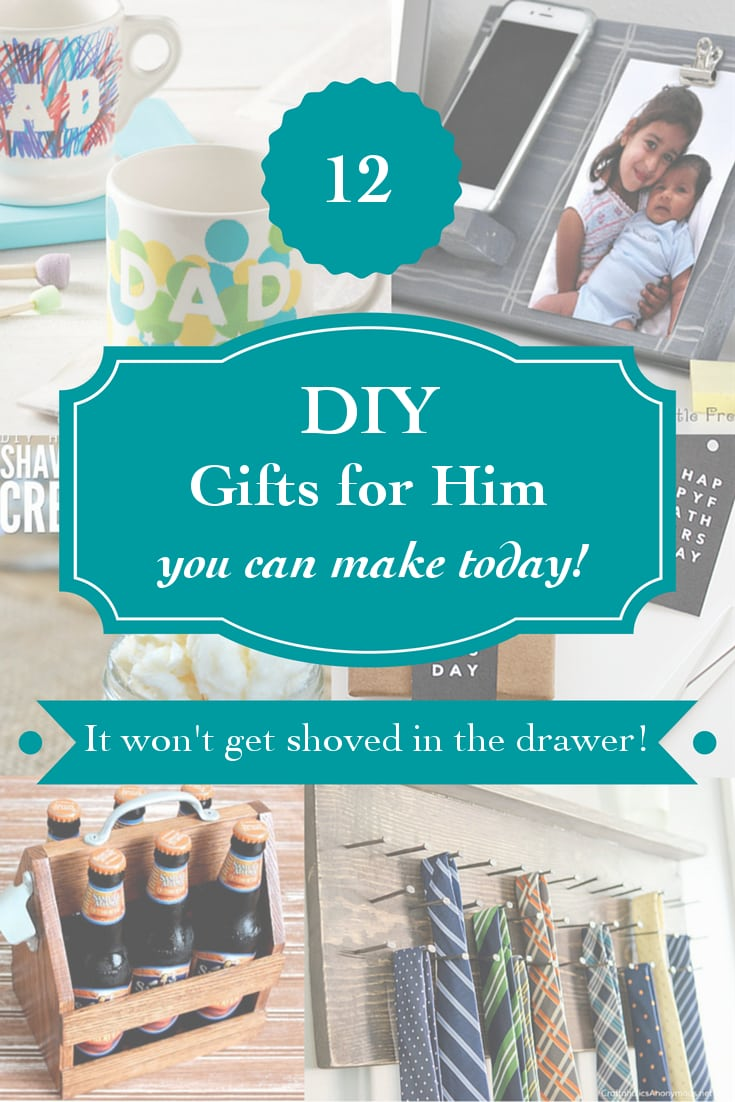 Easy DIY gifts for him you can make today. Ranging from homemade shaving cream to simple woodworking projects.