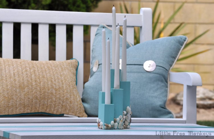 DIY beach theme candle holder