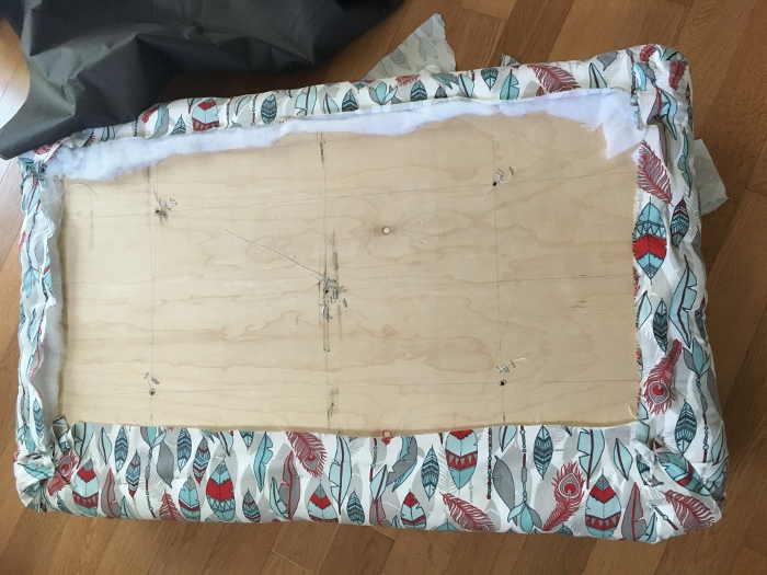 Make your own DIY upholstered storage ottoman starting with lumber from the store - it is super easy! This tutorial covers everything! The underside of the Top.