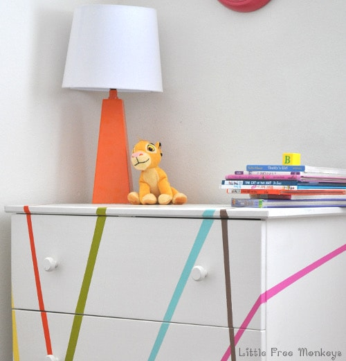 A fun, whimsical and colorful makeover for the Ikea Tarva dresser. Perfect for a gender neutral Kids room or a baby's nursery
