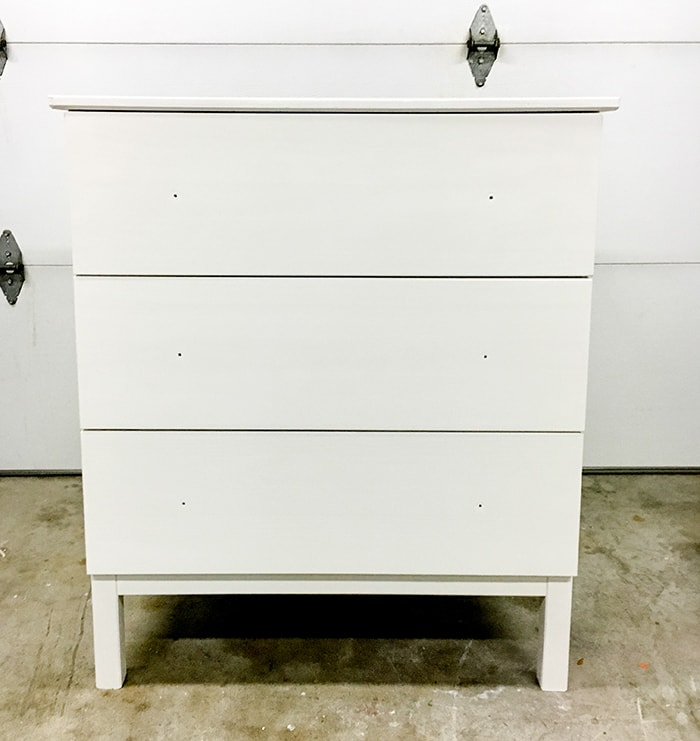 White painted Ikea Tarva dresser