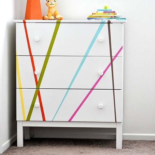 Colorful Ikea Tarva Dresser Makeover for Kids Room