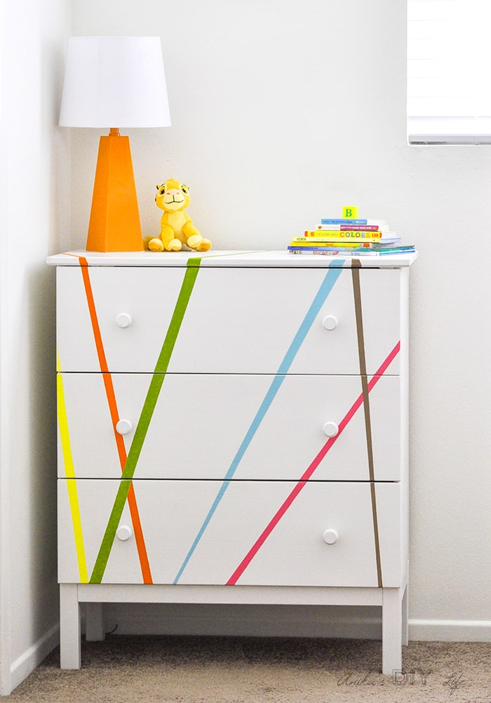 Colorful Ikea hack for the kids bedroom.
