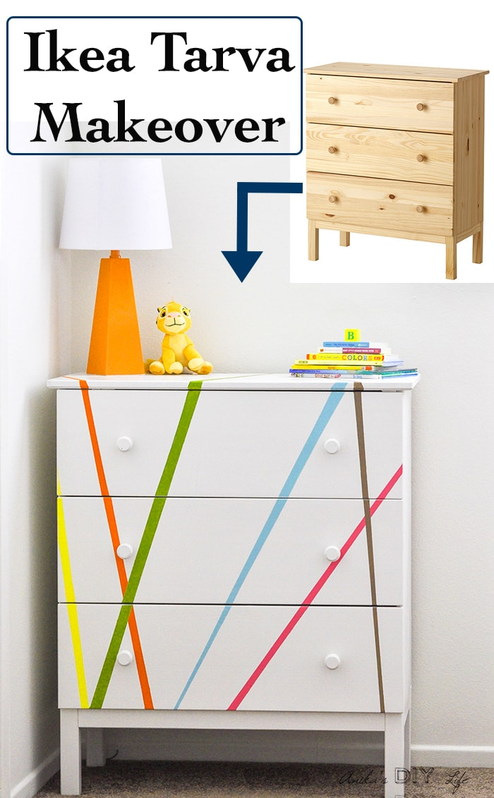 An easy, fun and colorful Ikea Tarva makeoiver perfect for a kids room or nursery