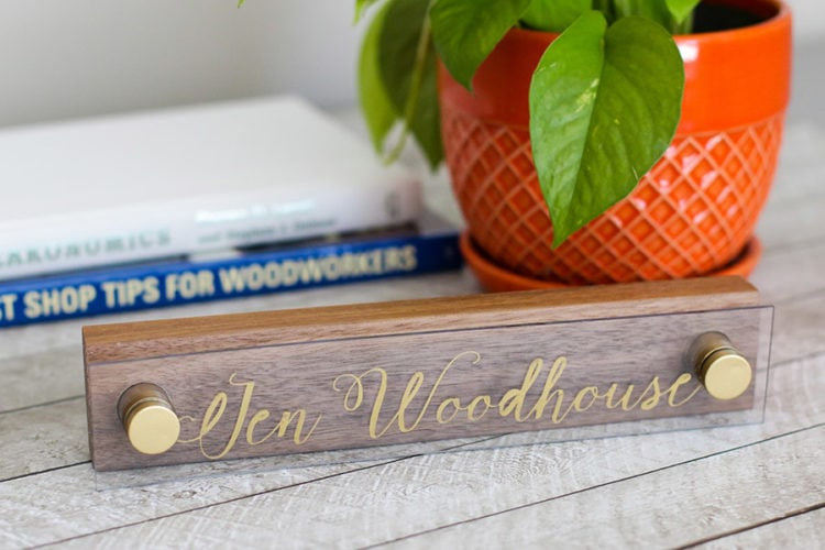 DIY wood and acrylic nameplate makes a great gift for him