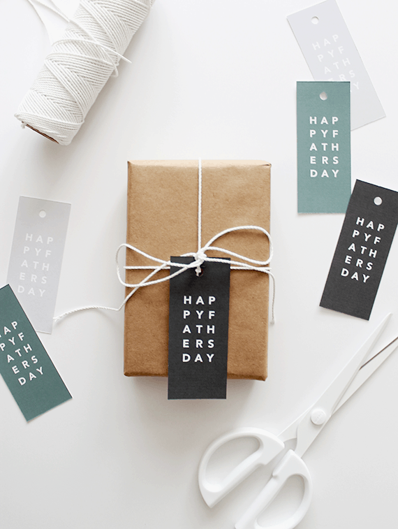 Father's Day gift tags with gifts and scissors