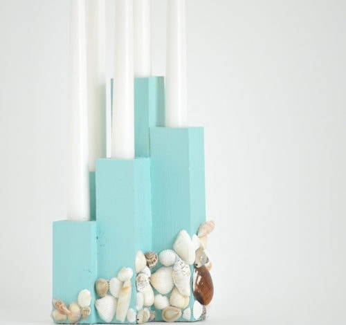DIY Coastal Candle Holder Centerpiece