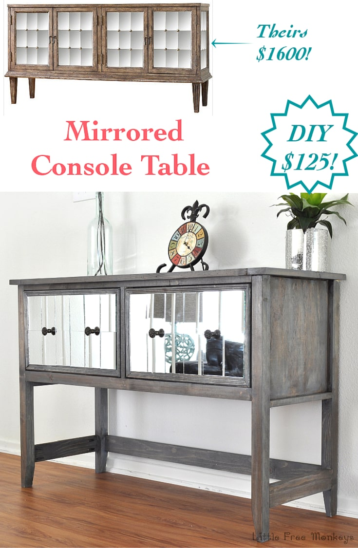 Build your own DIY mirrored console table! Step by step tutorial shows how easy it is to get this amazing high end look!