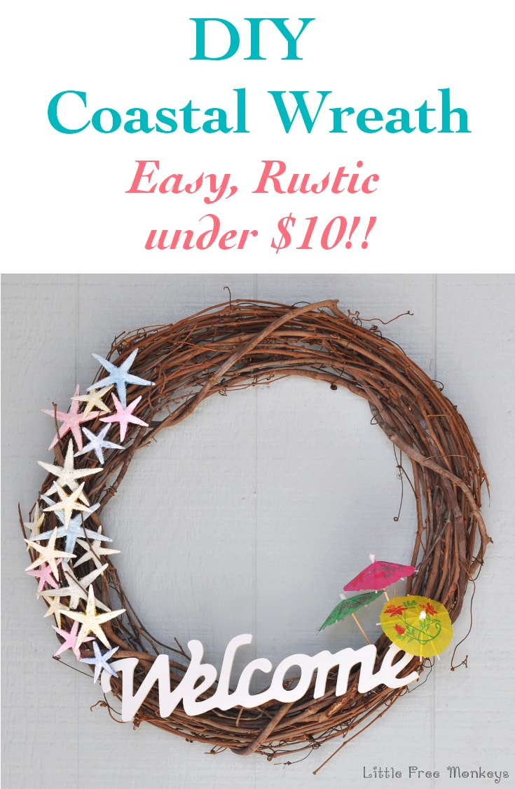 Make this easy and rustic DIY coastal wreath under $10 and welcome guests with a beach theme on your door!