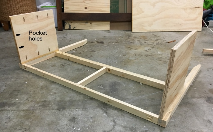 DIY mirrored console table - attach the sides