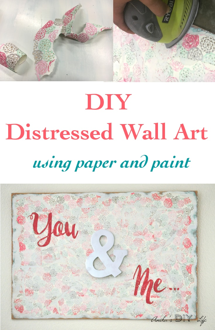 An easy DIY distressed Wall art perfect for the bedroom! Layers of paint and pretty wrapping paper distressed for the most amazing effect. Full tutorial!