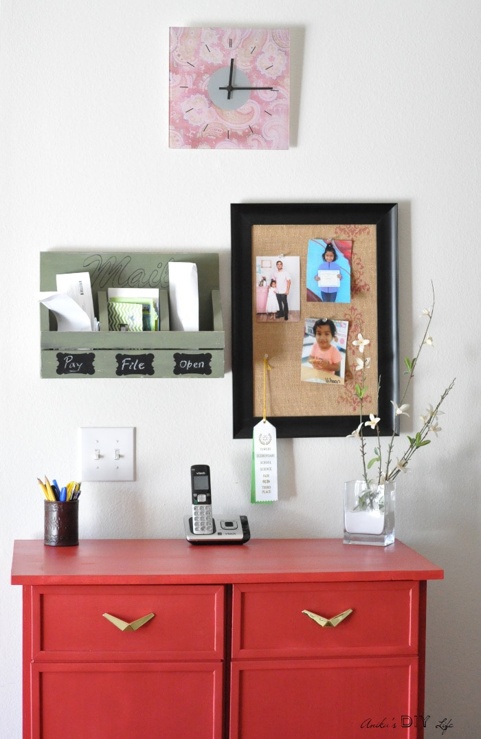 Check out this DIY command center. That red cabinet is an Ikea Ivar! Check out the makeover!