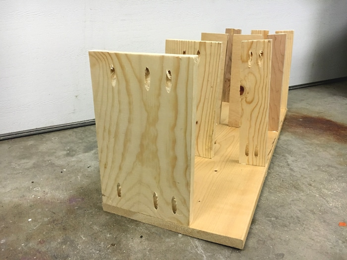 Attaching dividers to make a DIY scrap wood organizer