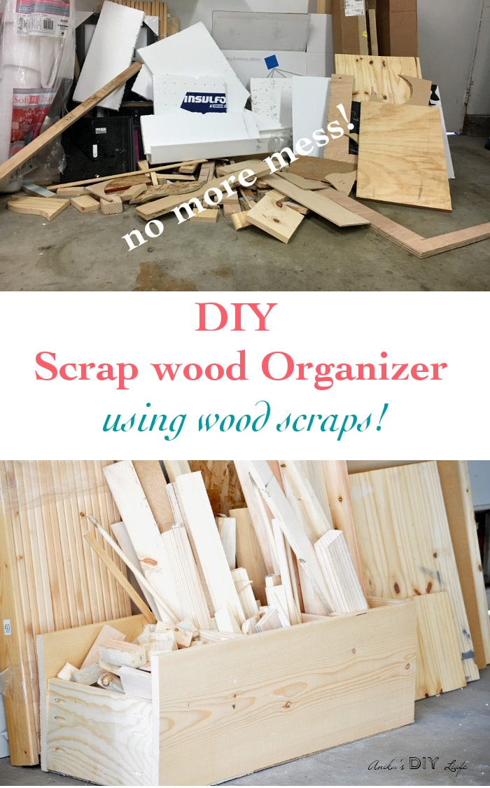 Make an easy scrap wood organizer to clear up that messy garage in 45 minutes! And use up scrap wood too! Step by step tutorial.