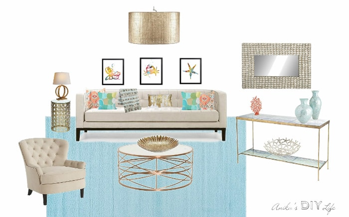 Create this beautiful Miami inspired glamorous coastal modern living room with fun splashed of color. Full source list!