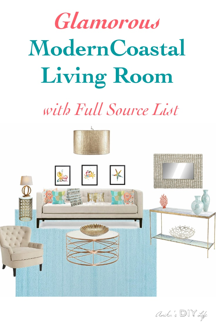List Of Living Room Furniture. pin it button Create this beautiful Miami inspired glamorous coastal modern living  room with fun splashed of color A Glamorous Modern Coastal Living Room Anika s DIY Life