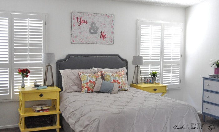 A DIY Master bedroom filled with tons of DIY projects. Take a look at all the DIY Master Bedroom decor