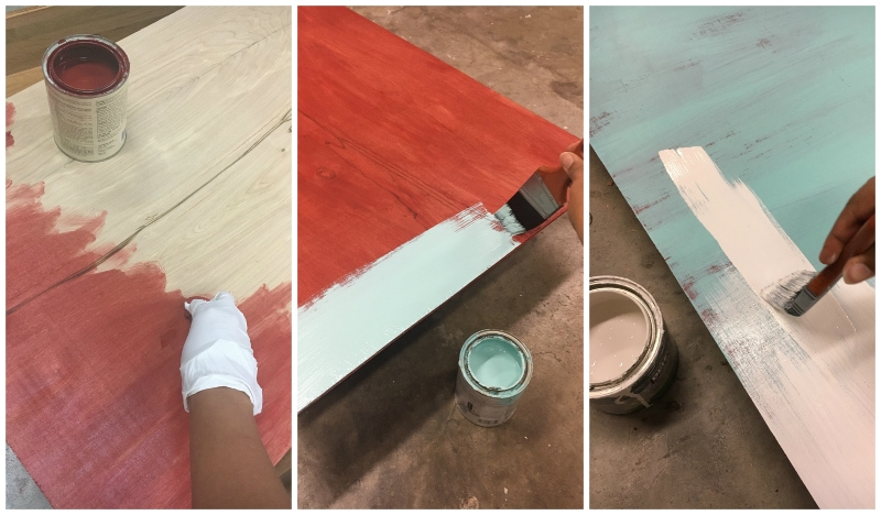 Painting board in various colors for a cool multilayer distressed effect!