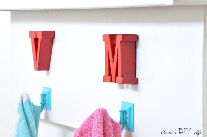 towel hooks for kids bathroom makeover