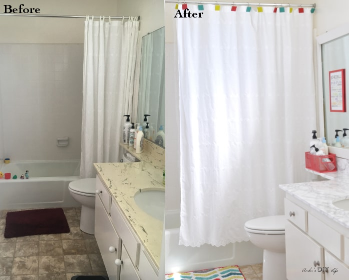 A Fun And Colorful Kids Rental Bathroom Makeover. Everything In Here Is  Removable!