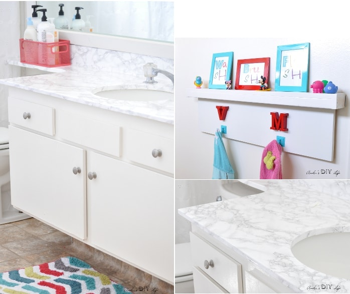 Rental bathroom update under $100 including faux marble countertops and lots of other updates