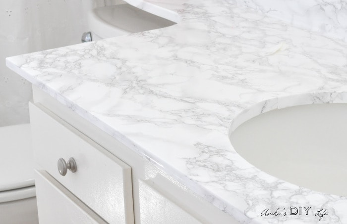 Elegant Contact Paper To Cover Up Old Ugly Bathroom Counter