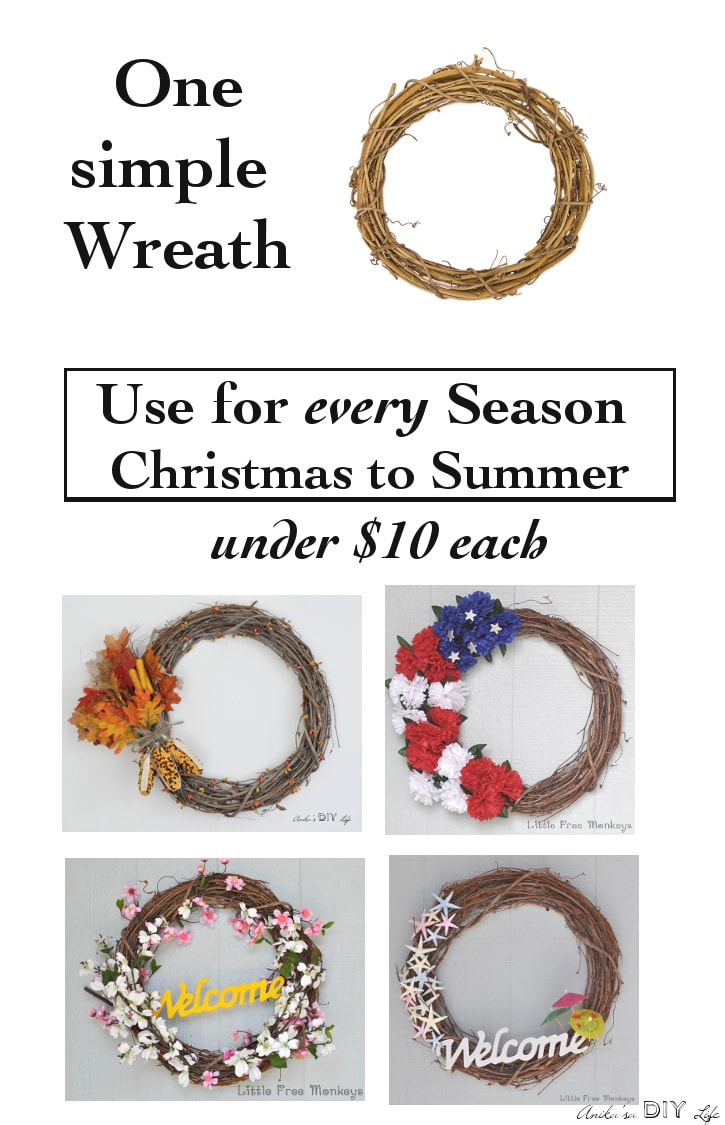 You don't have to break the bank to decorate with a wreath every season! See how an interchangeable wreath is used for Valentines, St Patrick's Day, Spring, Summer, Fourth of July, Fall, Halloween and Christmas!