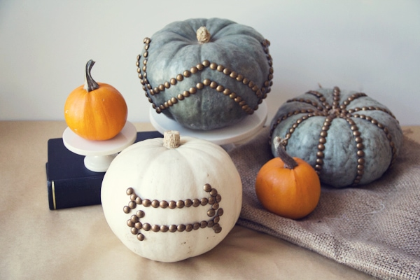 nailhead trim pumpkins by lovely indeed decorate pumpkins with thumbtacks