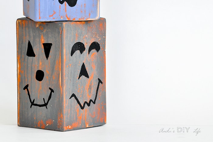 Stackable and distressed wood block pumpkins