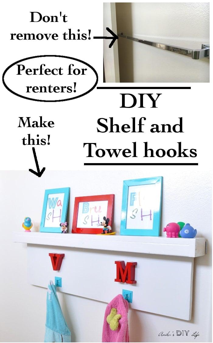 DIY Floating Shelf with Hooks - Rental bathroom makeover - Anika\'s ...